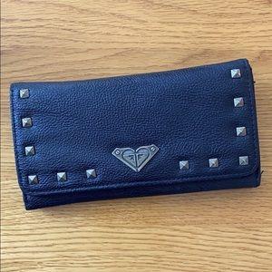 Roxy black tri-fold wallet